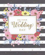 Wedding Card Black White Stripe