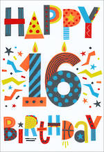 Birthday Age Card 16 Male Text Shapes