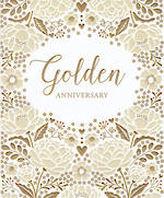 Anniversary Card 50th Golden Floral