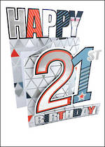 Birthday Age Card 21 Male 3D Cutting Edge