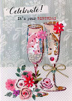 Floral Fancy Birthday Flute Glass
