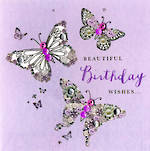 Buttoned Up Birthday Purple Butterfly