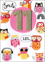 Birthday Age Card 11 Female Inspired Owls