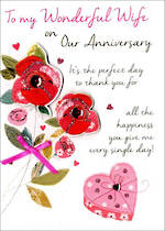 Anniversary Card Wife Just To Say Roses