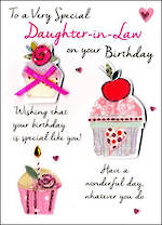 In Laws Birthday Card Daughter In Law Just To Say Cupcake