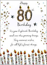 Birthday Age Card 80 Male Just To Say Candles
