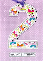 Birthday Age Card 2 Girl Lollipop