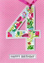 Birthday Age Card 4 Girl Lollipop