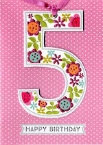 Birthday Age Card 5 Girl Lollipop