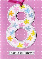 Birthday Age Card 8 Girl Lollipop