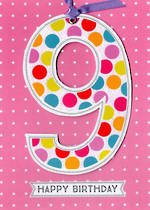 Birthday Age Card 9 Girl Lollipop