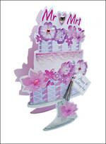 Wedding Card Paper Dazzle 3D Mr & Mrs Cake