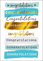 Congratulations Card  Yours Truly Blue Gold