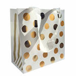 Small Gift Bag Gold Dotty On White