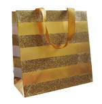 Medium Gift Bag Gold Stripe On Gold