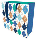 Large Gift Bag Male Argyle Blue Green