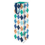 Bottle Gift Bag Male Argyle Blue Green