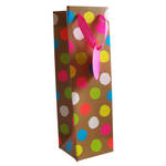 Bottle Gift Bag General Fluro Dots On Kraft
