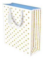 Small Gift Bag Glitter Dots White