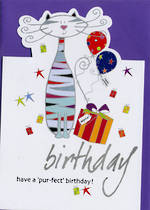 Female Birthday Card: Sparklers Cat