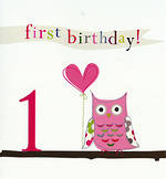 Age Card 1 Girl Think Of Me 1st Birthday Pink