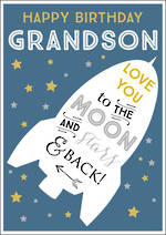 Grandson Birthday Card Ink Moon & Stars