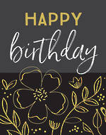 Jot Birthday Floral Black Grey