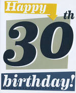 Birthday Age Card 30 Male Sasparilla Yellow & Blue