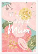 Mum Birthday Card Wish Pastel Flowers