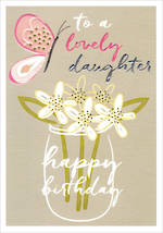Daughter Birthday Card Wish Jar Of Flowers