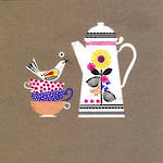 Blank Card: Jennifer Wren - Tea Cup & Pot
