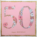 Age Card 50 Female Square Flowers Pink