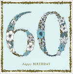 Birthday Age Card 60 Female Square Flowers Mint