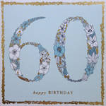 Age Card 60 Female Square Flowers Mint