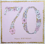 Age Card 70 Female Square Flowers Pink