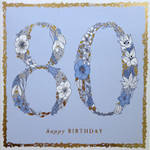 Age Card 80 Female Square Flowers Blue