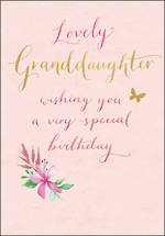 Grandaughter Birthday Card Peppermint Pink