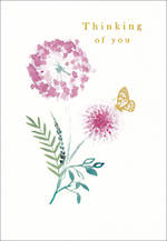 Sympathy Card Thinking of You Rosella Purple Flowers