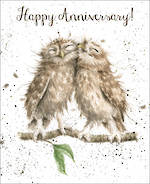 Anniversary Card Fur Feathers Owls