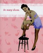 Female Birthday Card: Peaches So Many Shoes