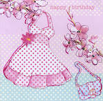 Female Birthday Card: Diamonds Tiaras Dress