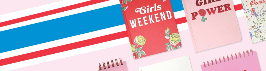Add a bit of girl power to your offerings with our newest stationery collection, Take Me Somewhere! Celebrating weekend getaways and adventurous souls who love to travel, Take Me Somewhere features versatile stationery perfect for the summer months. With a pink and red colourway, bursts of floral, and typography that takes its cue from vintage design, this cool range will take your customers on road trips, faraway places and plenty of rosy summer adventures.