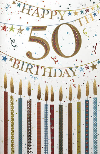 Age Card 50 Wishing Well Birthday Candles