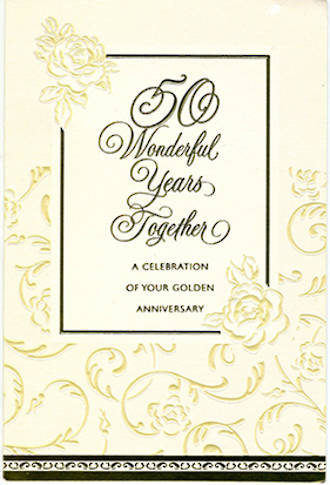 Anniversary Card 50th Gold: Wonderful Years