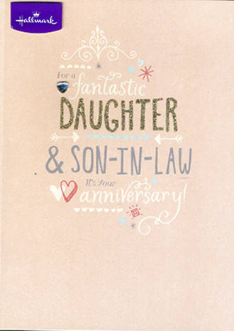 Anniversary Card Daughter & Son-in-Law: Peach Fantastic
