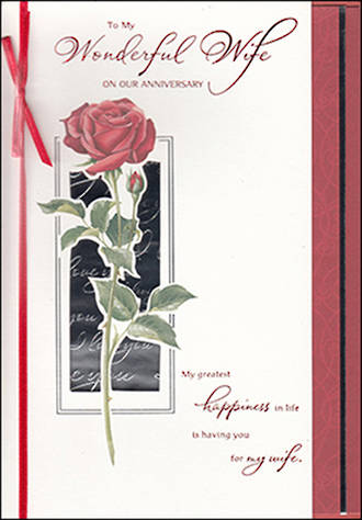Anniversary Card Wife: Rose & Ribbon