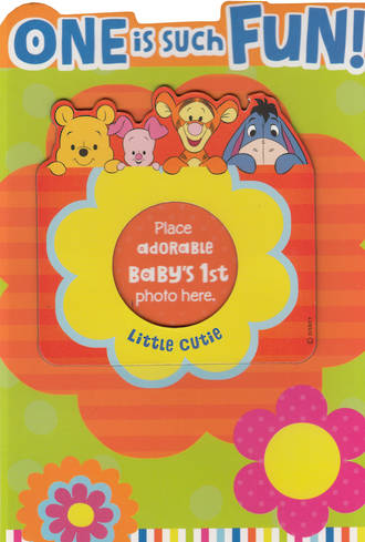 Age Card 1: Girl Winnie The Pooh Photo Holder