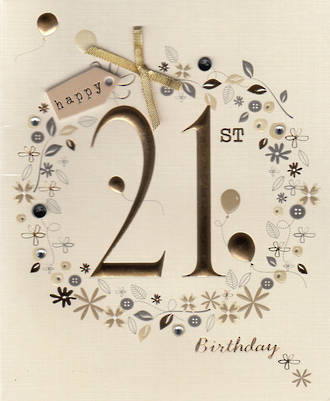 Age Card 21: Female Paper Gallery Birthday