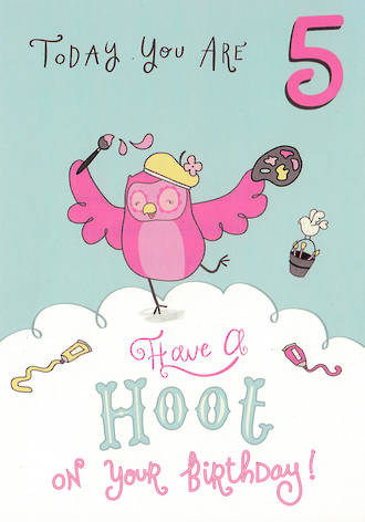 Age Card 5: Girl Owl Hoot
