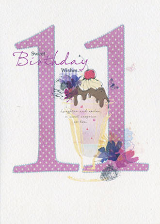 Age Card 11: Girl Peony Rose Birthday Wishes